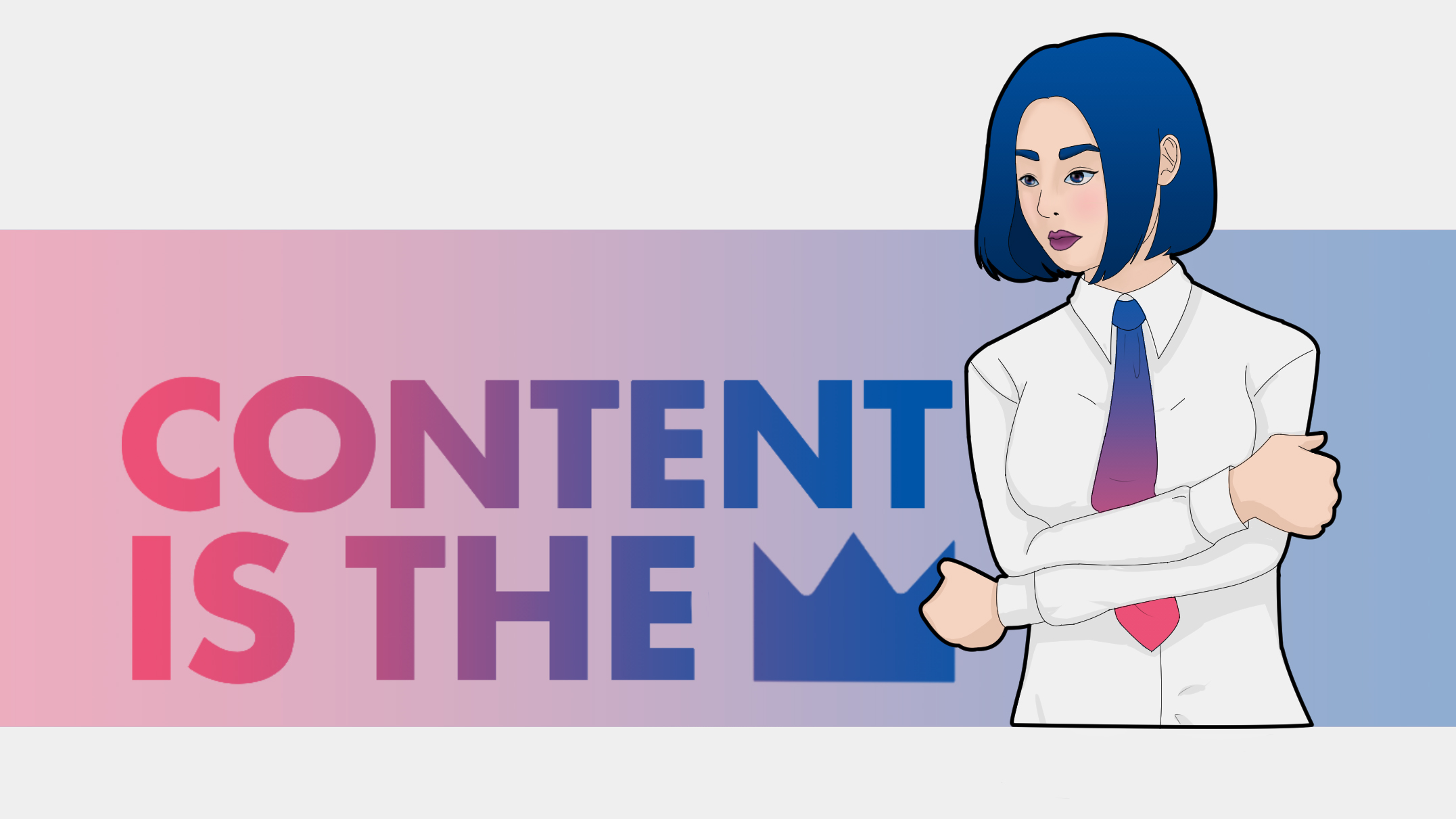 business woman, content is the king, content marketing, crown